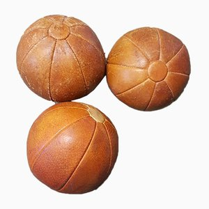 German Vintage Leather Medicine Balls, 1950s, Set of 3