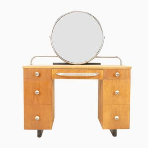 Vintage Art Deco Oak Veneer Dressing Table, 1930s