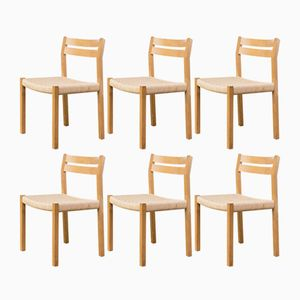 Smoked Oak Dining Chairs by Niels O. Møller for J.l. Møller, Set of 6