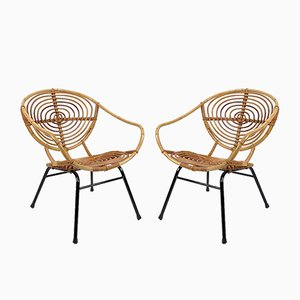 Dutch Rattan Armchairs by Rohe Noordwolde, Set of 2