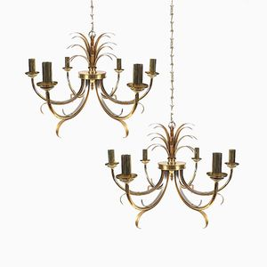 Vintage Belgian Brass Chandeliers by Boulanger, Set of 2