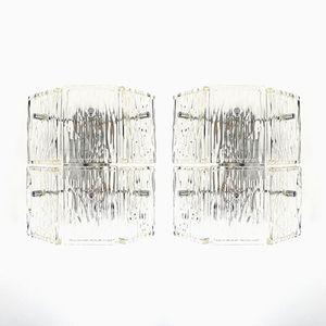 Glass and Chromed Metal Wall Lights, Set of 2