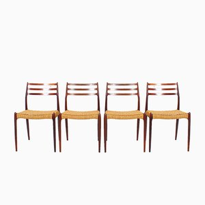 Model 78 Rosewood Dining Chairs by Niels O. Møller, 1960s, Set of 4