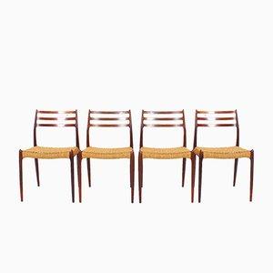 Modell 78 Palisander Esszimmerstühle von Niels O. Møller, 1960er, 4er Set