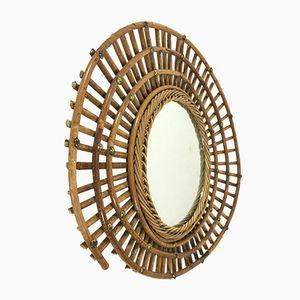 Französischer Vintage Spiegel mit Rahmen aus Bambus
