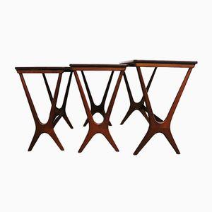Mid-Century Teak Nesting Tables by Erling Torvits for Heltborg Møbler