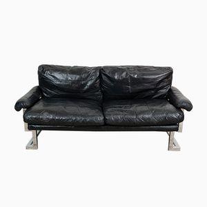 Mandarin Sofa aus Chrom und Schwarzem Leder von Ted Bates für Pieff, 1970er