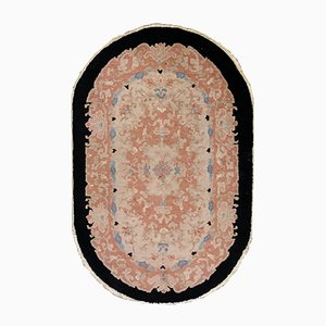 Vintage Chinese Oval Handmade Art Deco Rug, 1930s