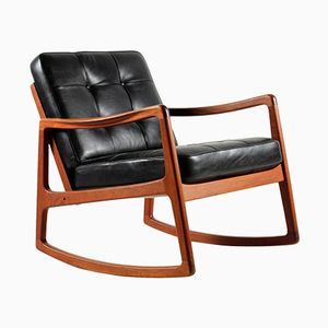Mid-Century Teak & Cowhide Rocking Chair by Ole Wanscher for France & Son