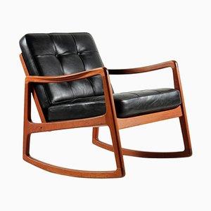 Rocking Chair Mid-Century en Teck & Cuir de Vache par Ole Wanscher pour France & Søn