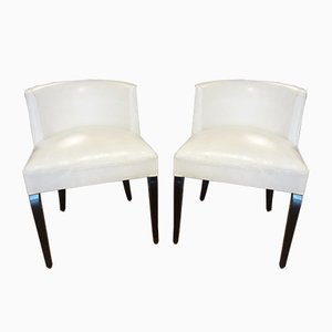 Vintage White Side Chairs by Jacques Adnet, 1930s, Set of 2