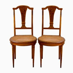 Antique French Dining Chairs with Floral Inlay, Set of 2