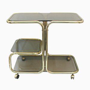 Mid-Century Gold Metal & Smoked Glass Bar Cart