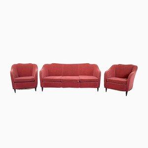 Italienisches Rotes Mid-Century Wohnzimmer Set