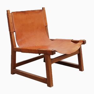 Mid-Century Cognac Leather Hunting Chairs, Set of 2