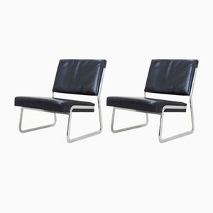 Mid-Century Leather Lounge Chairs by Paul Sumi for Lübke, Set of 2