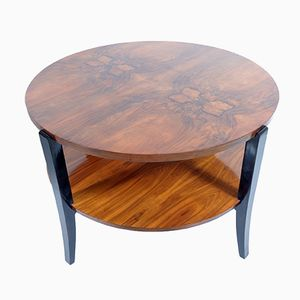 Large Round Two-Tiered Art Deco Burl Walnut Coffee Table, 1935
