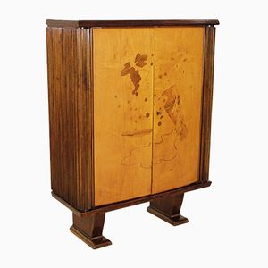 Mid-Century Italian Walnut & Birch Cabinet with Inlaid Decorations