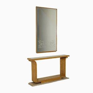 Italienischer Mid-Century Konsolentisch aus Ahorn Furnier & Spiegelglas mit Wandspiegel