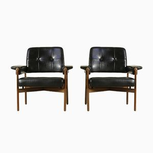 Mid-Century Italian Teak & Leatherette Armchairs, Set of 2