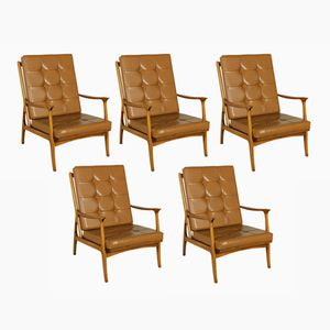 Italian Beech & Leatherette Chairs, 1950s, Set of 5