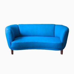 Blue Danish Banana-Shaped Sofa, 1940s
