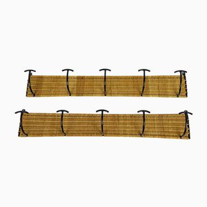Woven Rattan & Black Metal Coat Racks with Five Hooks, 1950s, Set of 2