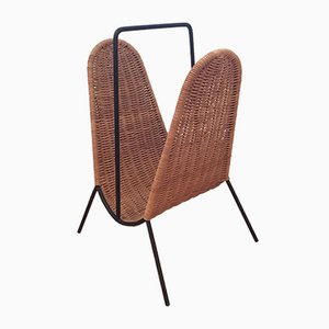 Mid-Century Rattan Newspaper Rack