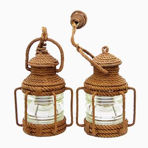 Rope Pendant Lanterns by Audoux & Minet, 1960s, Set of 2