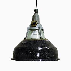 Lampe à Suspension en Émail Noir, Russie, 1950s