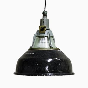 Russian Black Enamel Pendant Light, 1950s