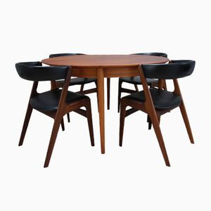 Vintage Extendable Dining Table and 4 Chairs in Teak by Kai Kristiansen for Skovmand & Andersen, 1950s