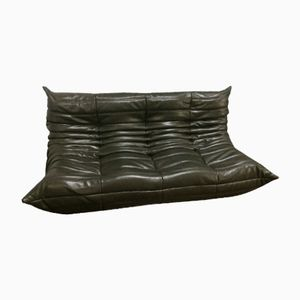 Dark Olive 3-Seater Leather Togo Sofa by Michel Ducaroy for Ligne Roset