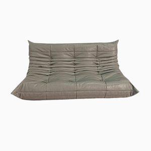 Dark Grey Leather 3-Seater Togo Sofa by Michel Ducaroy for Ligne Roset
