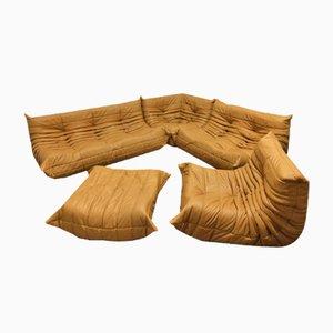 Hellbraunes Leder Togo Wohnzimmer Set von Michel Ducaroy für Ligne Roset