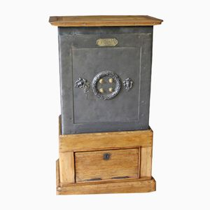 Antique Black Steel, Iron and Wood Safe from Petitjean