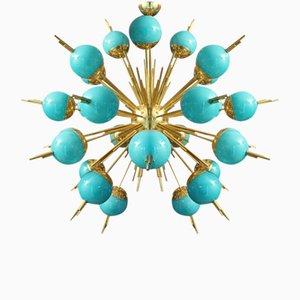 Chandelier Sputnik avec Globes en Verre et Laiton Turquoise