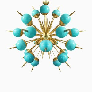 Turquoise Glass Globes and Brass Sputnik Chandelier