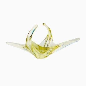 Italienische Gelbe Mid-Century Murano Glasschale, 1960er
