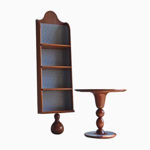 Italienisches Bücherregal und Tisch, 1980er
