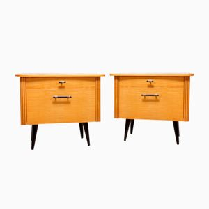 Italian Bedside Cabinets in Satin Birch, 1960s, Set of 2