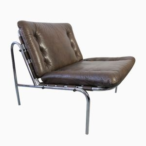 Vintage Leather & Chrome Kyoto Lounge Chair by Martin Visser for 't Spectrum