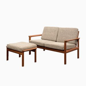 Mid-Century Danish Two-Seater Sofa with Stool by Sven Ellekaer for Komfort