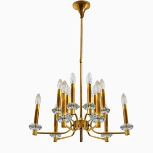 Vintage Brass and Glass Chandelier with 12 Lights, 1960s