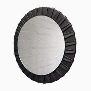 Round French Vintage Leather Wall Mirror