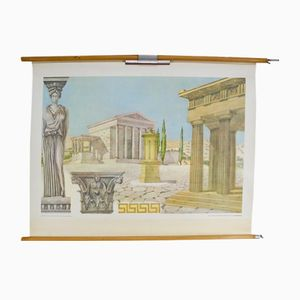 Vintage School Wall Chart of Greek Architecture by Dr. Schwankl for Georg Westermann Verlag