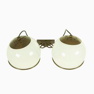 Italian B519 Brass and Glass Sconces from Candle, 1960s, Set of 2