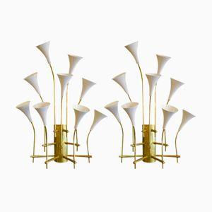 Große Italienische Mid-Century Wandlampen, 2er Set