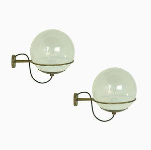 Wandlampen aus Messing & Glas von Candle, 1960er, 2er Set