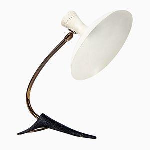 Vintage Tischlampe mit Gusseisen Gestell und Weiß Lackiertem Schirm aus Metall